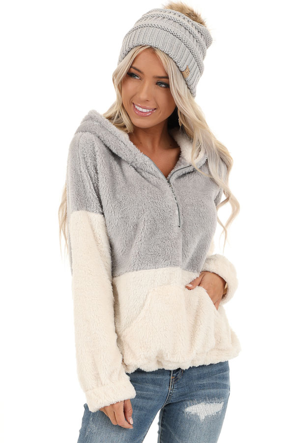 Grey and Ivory Super Soft Hoodie with Front Half Zipper front close up