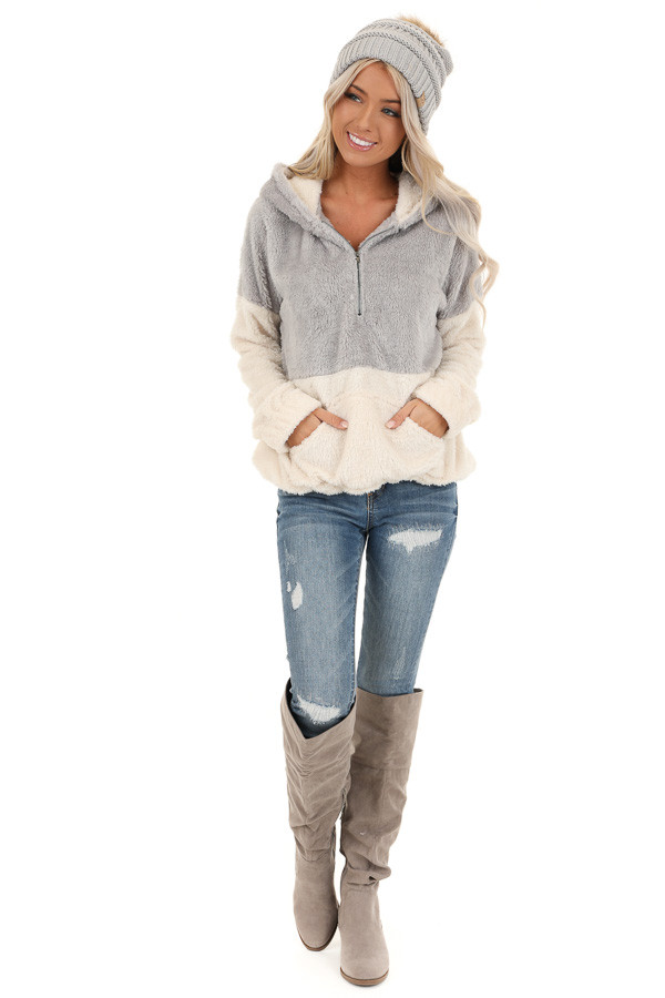 Grey and Ivory Super Soft Hoodie with Front Half Zipper front full body