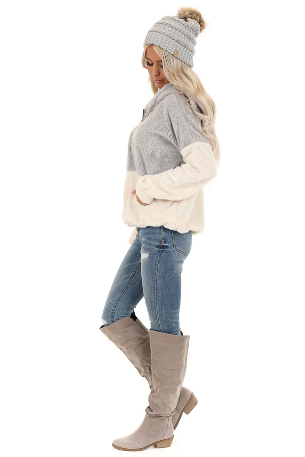 Grey and Ivory Super Soft Hoodie with Front Half Zipper side full body