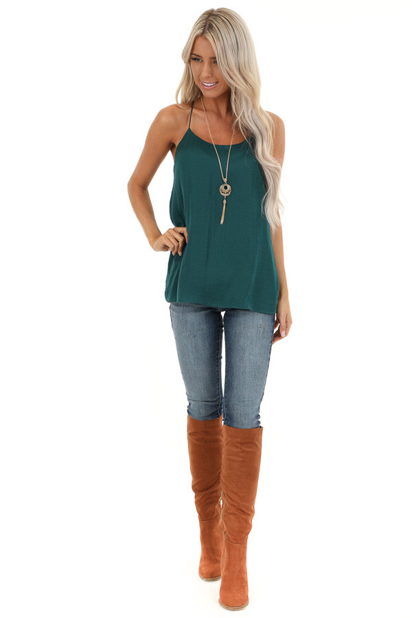 Deep Green Flowy Racerback Tank Top with Rounded Neckline front full body