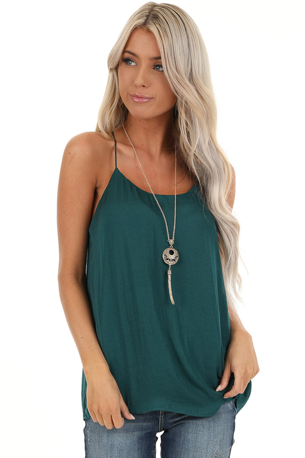 Deep Green Flowy Racerback Tank Top with Rounded Neckline front close up