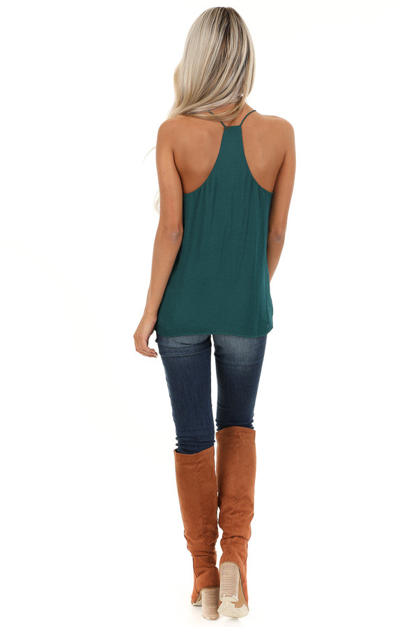Deep Green Flowy Racerback Tank Top with Rounded Neckline back full body