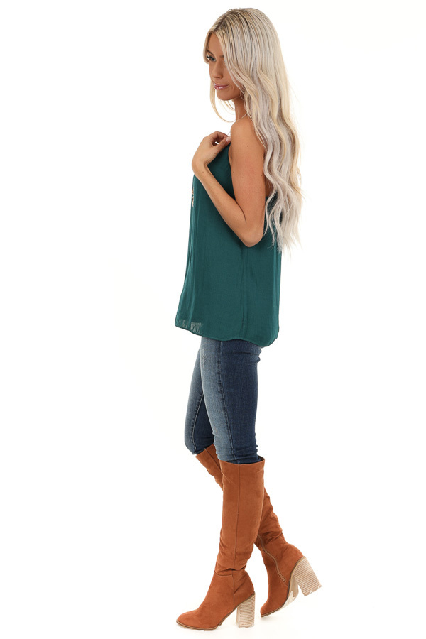 Deep Green Flowy Racerback Tank Top with Rounded Neckline side full body