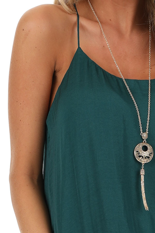 Deep Green Flowy Racerback Tank Top with Rounded Neckline detail