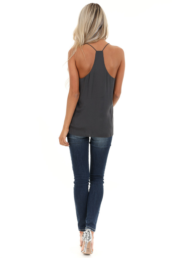 Charcoal Flowy Racerback Tank Top with Rounded Neckline back full body