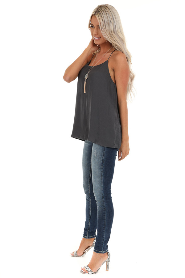 Charcoal Flowy Racerback Tank Top with Rounded Neckline side full body