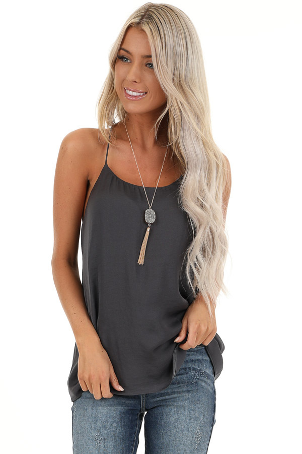 Charcoal Flowy Racerback Tank Top with Rounded Neckline front close up