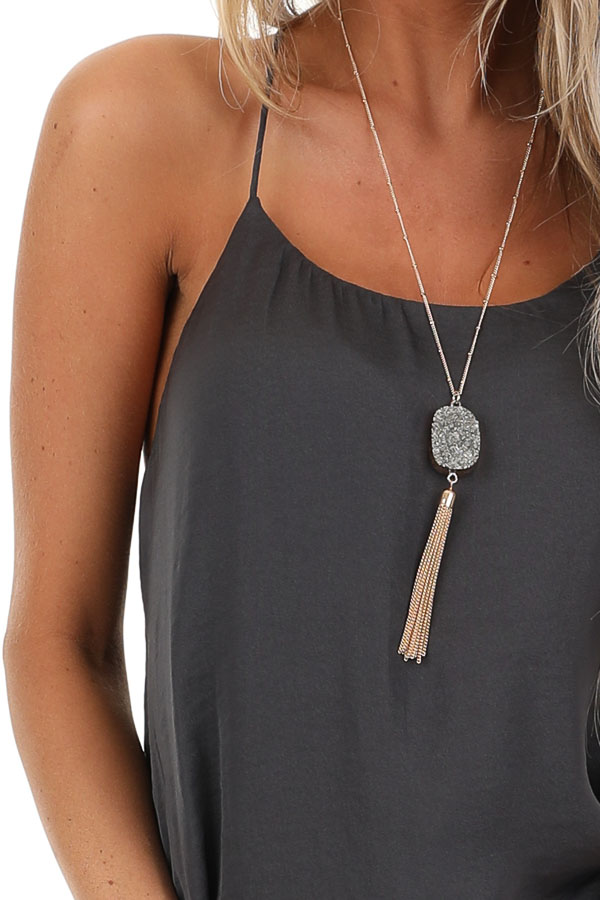 Charcoal Flowy Racerback Tank Top with Rounded Neckline detail