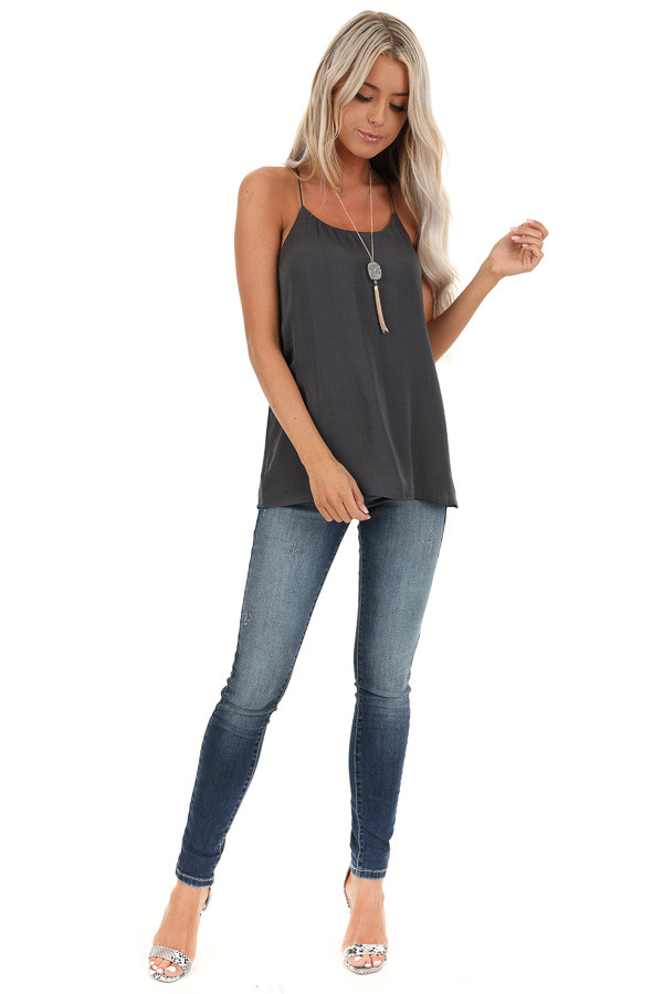 Charcoal Flowy Racerback Tank Top with Rounded Neckline front full body