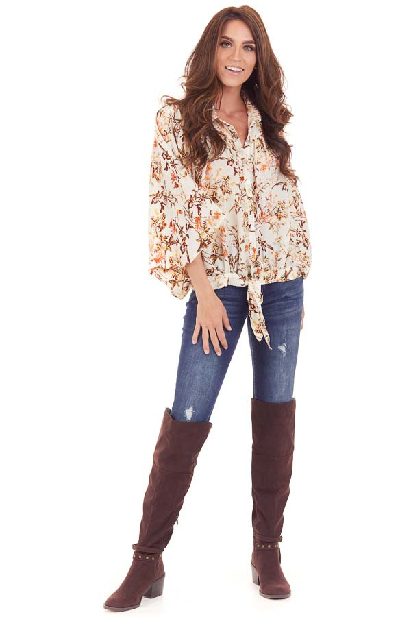 Ivory Floral Print Flowy Button Up Blouse with Front Tie front full body