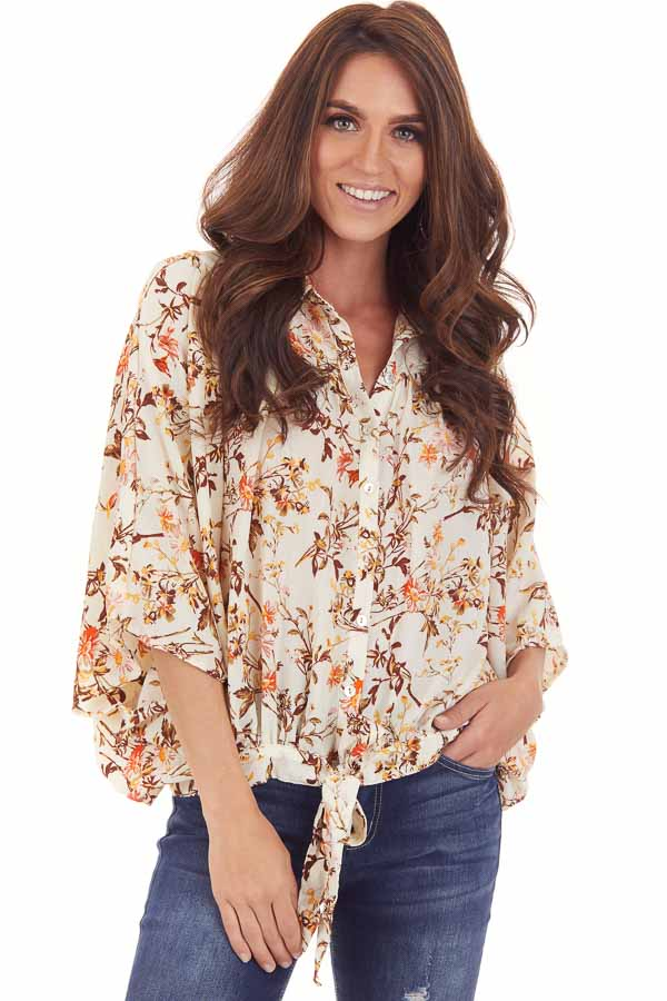 Ivory Floral Print Flowy Button Up Blouse with Front Tie front close up