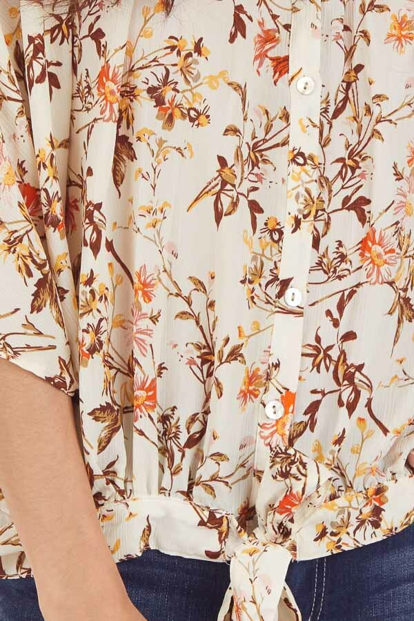 Ivory Floral Print Flowy Button Up Blouse with Front Tie detail