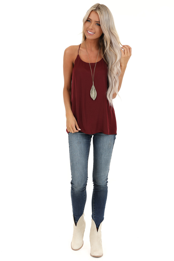 Wine Flowy Racerback Tank Top with Rounded Neckline front full body
