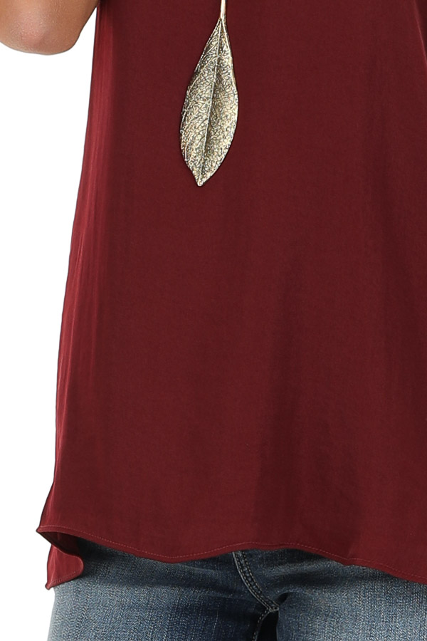Wine Flowy Racerback Tank Top with Rounded Neckline detail