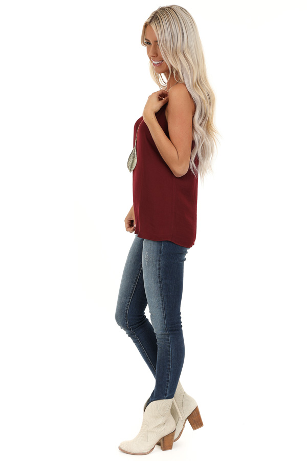 Wine Flowy Racerback Tank Top with Rounded Neckline side full body