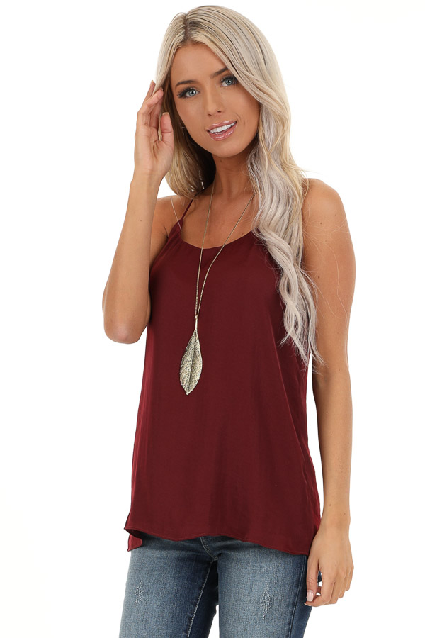 Wine Flowy Racerback Tank Top with Rounded Neckline front close up