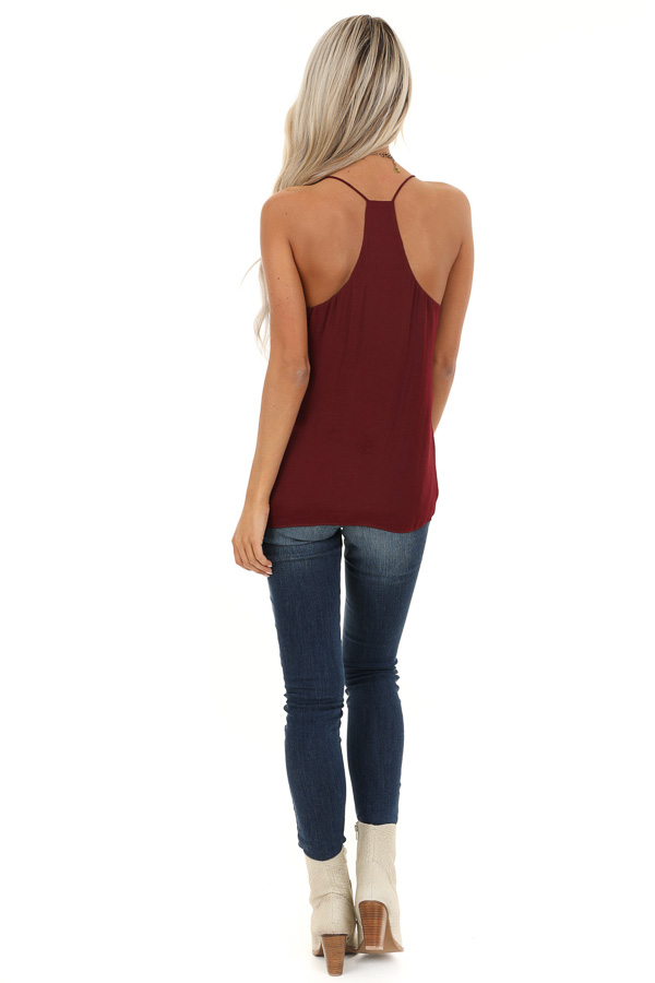 Wine Flowy Racerback Tank Top with Rounded Neckline back full body