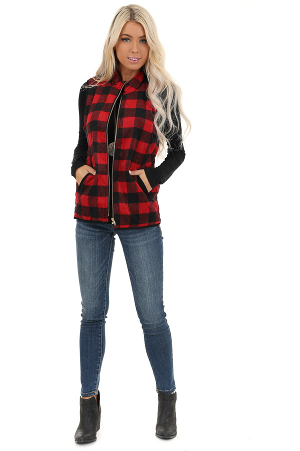 Cherry Red Buffalo Plaid Fleece Collared Vest with Pockets front full body