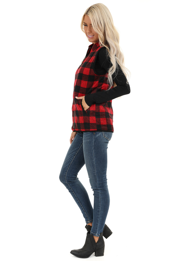 Cherry Red Buffalo Plaid Fleece Collared Vest with Pockets side full body
