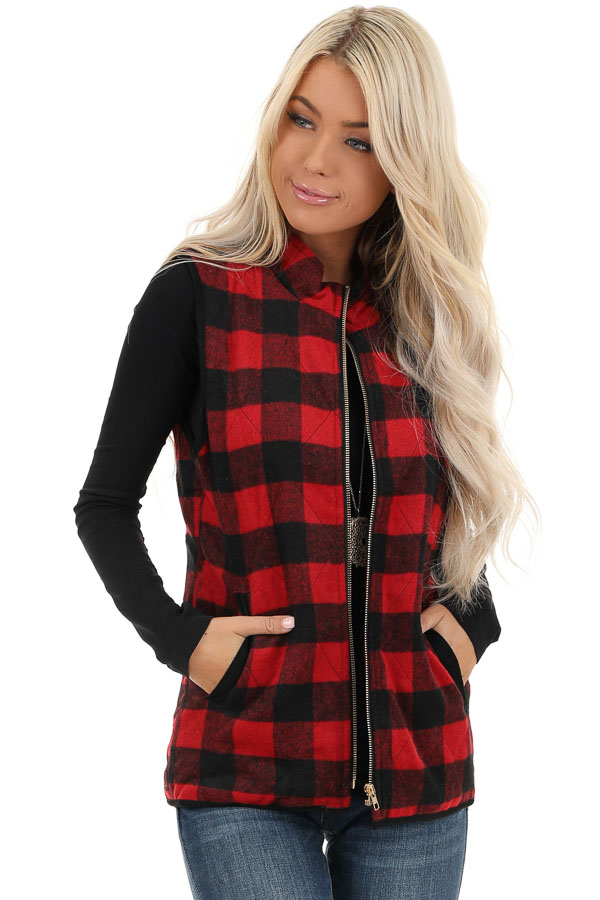 Cherry Red Buffalo Plaid Fleece Collared Vest with Pockets front close up