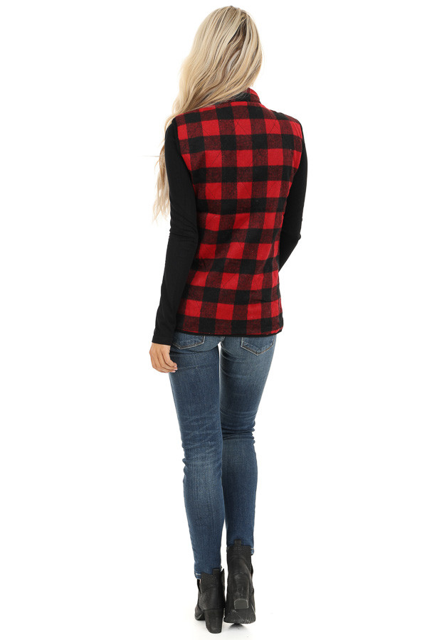 Cherry Red Buffalo Plaid Fleece Collared Vest with Pockets back full body