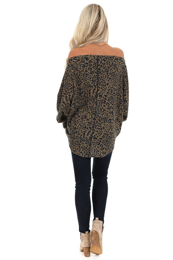 Leopard Print Off the Shoulder Top with Front Tie Detail back full body