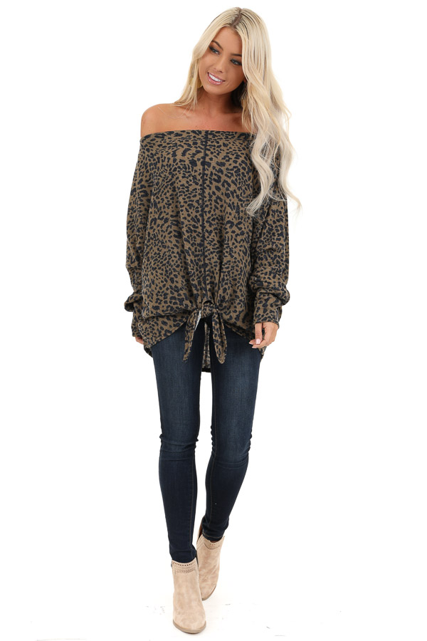 Leopard Print Off the Shoulder Top with Front Tie Detail front full body