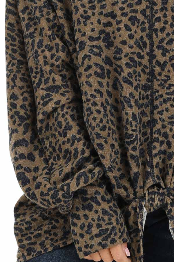 Leopard Print Off the Shoulder Top with Front Tie Detail detail