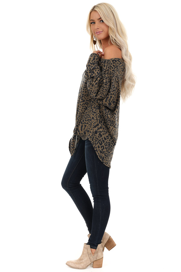 Leopard Print Off the Shoulder Top with Front Tie Detail side full body