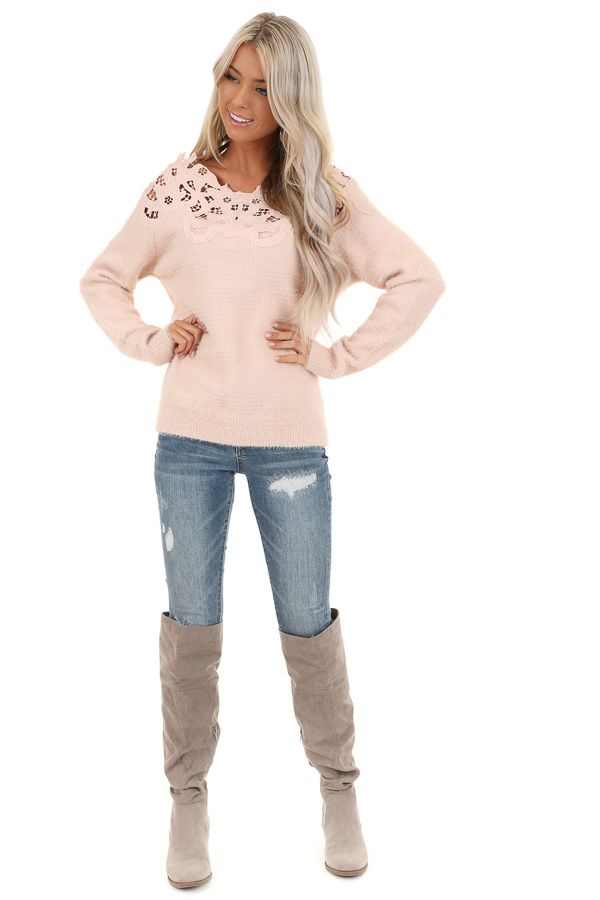 Baby Pink Super Soft Long Sleeve Top with Crochet Detail front full body