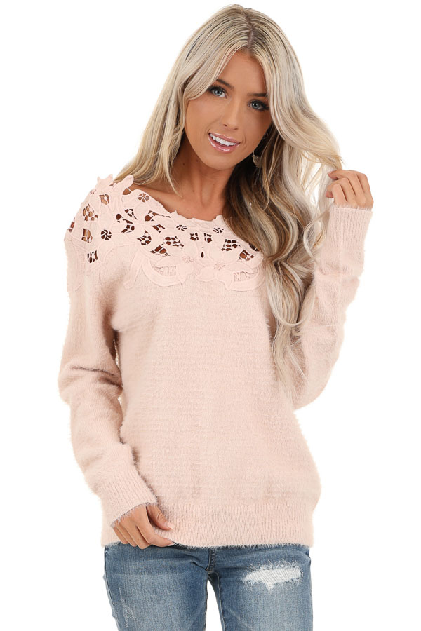 Baby Pink Super Soft Long Sleeve Top with Crochet Detail front close up