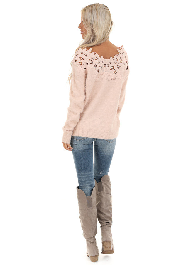 Baby Pink Super Soft Long Sleeve Top with Crochet Detail back full body