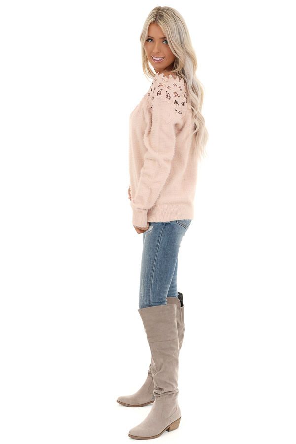 Baby Pink Super Soft Long Sleeve Top with Crochet Detail side full body