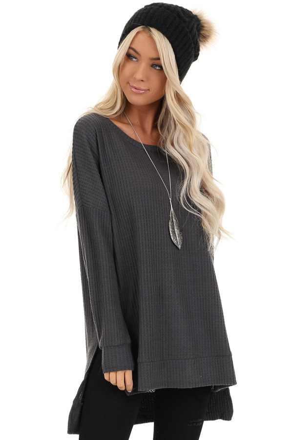 Charcoal Long Sleeve Waffle Knit Top with Side Slits front close up