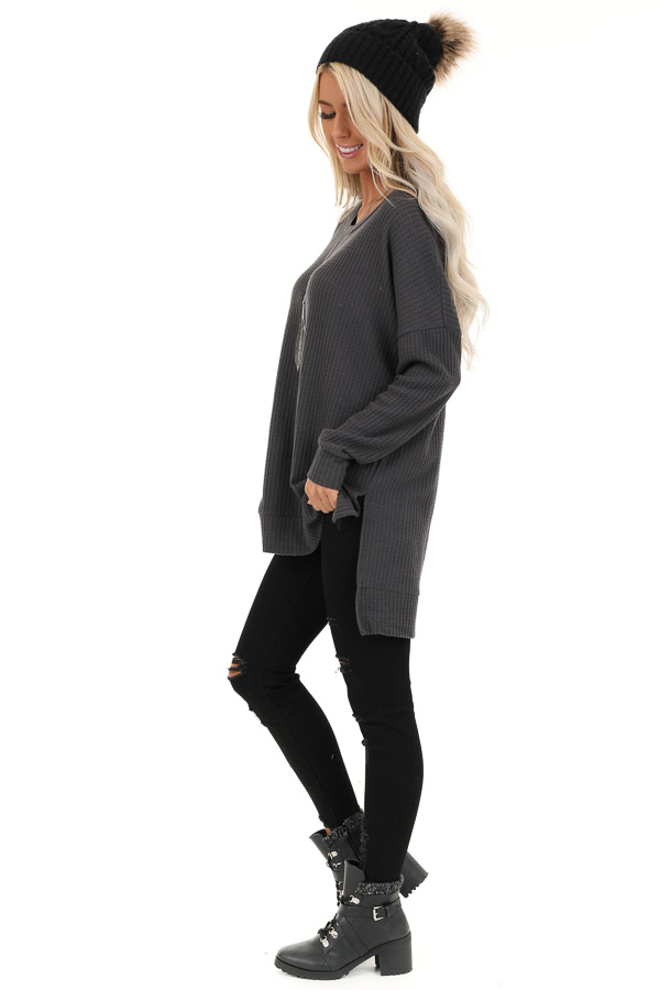 Charcoal Long Sleeve Waffle Knit Top with Side Slits side full body