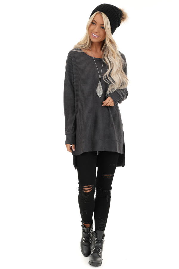 Charcoal Long Sleeve Waffle Knit Top with Side Slits front full body