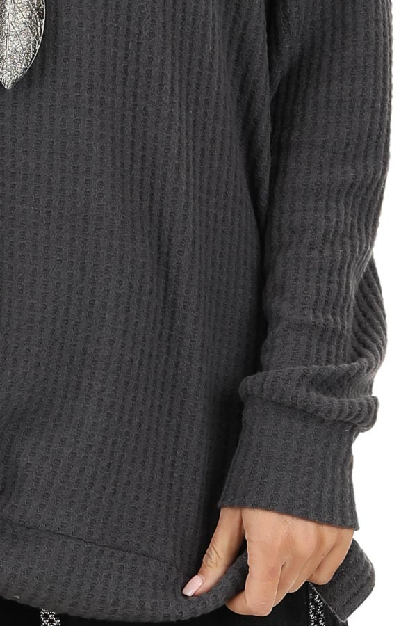 Charcoal Long Sleeve Waffle Knit Top with Side Slits detail