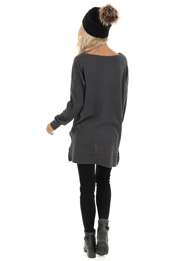 Charcoal Long Sleeve Waffle Knit Top with Side Slits back full body