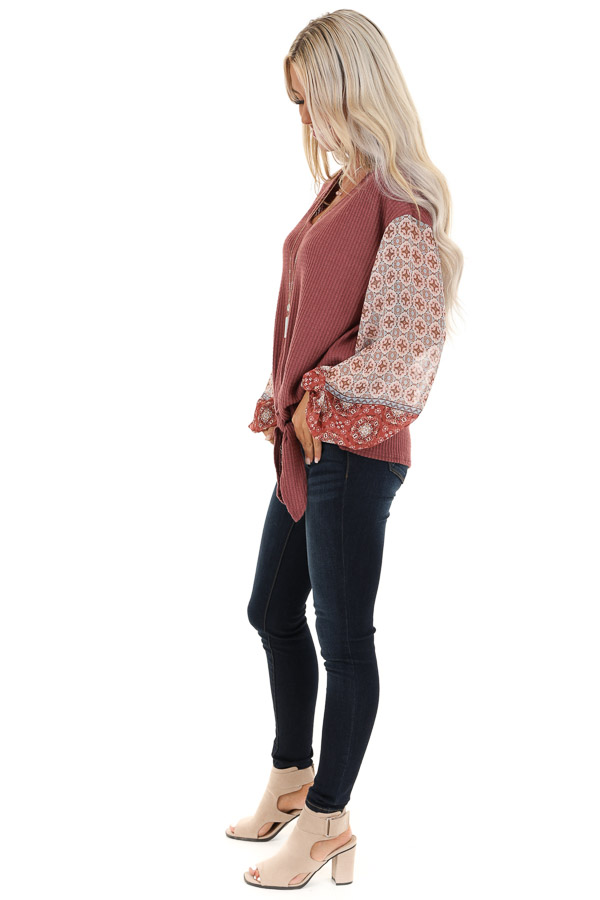 Mauve Waffle Knit Top with Multi Print Puff Sleeves and Tie side full body