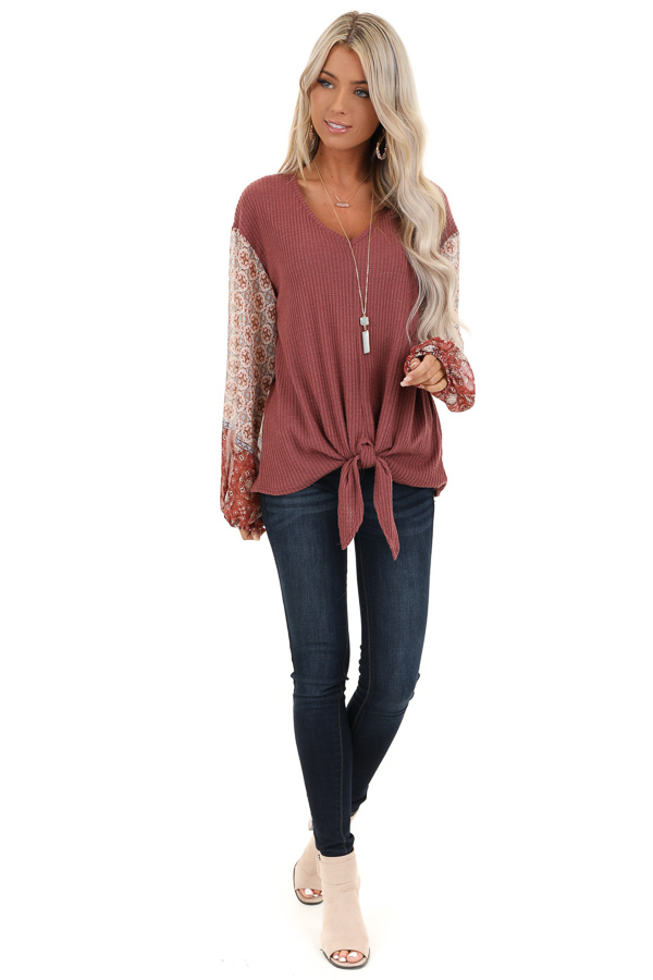 Mauve Waffle Knit Top with Multi Print Puff Sleeves and Tie front full body