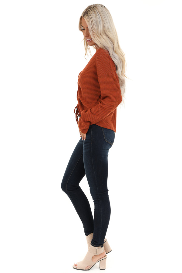 Rust V Neck Long Sleeve Top with Front Drawstring Detail side full body