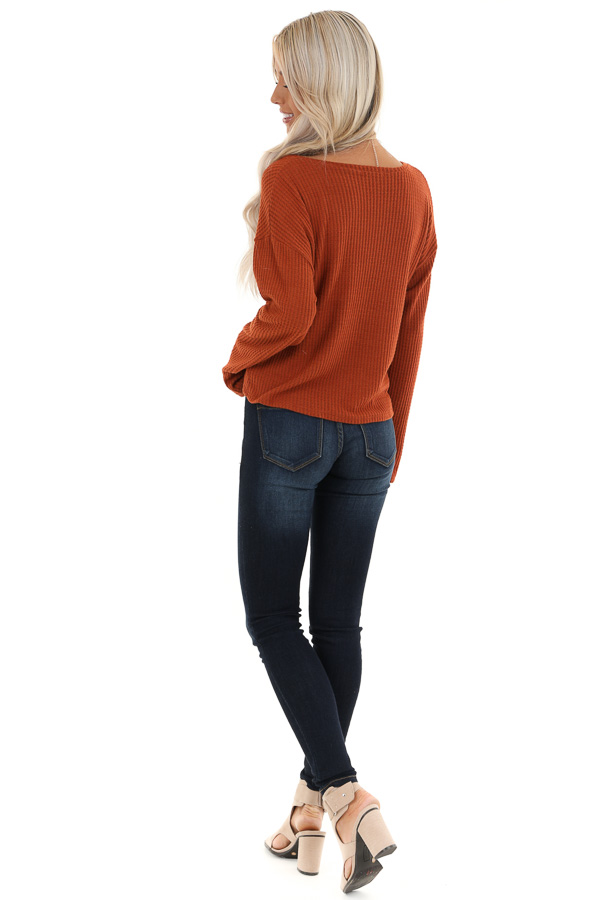 Rust V Neck Long Sleeve Top with Front Drawstring Detail back full body