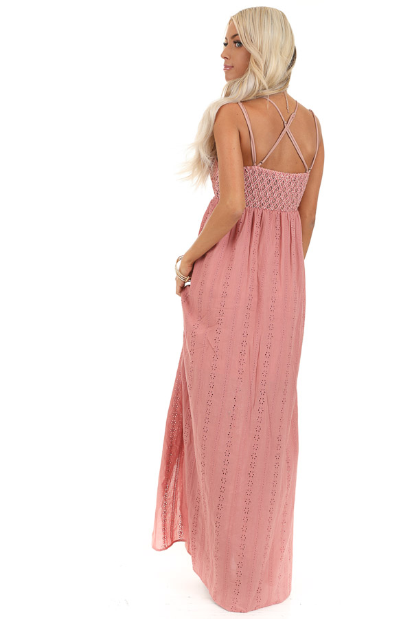 Dusty Pink Sleeveless Maxi Dress with Lace Bust back full body