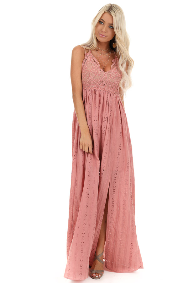 Dusty Pink Sleeveless Maxi Dress with Lace Bust front full body