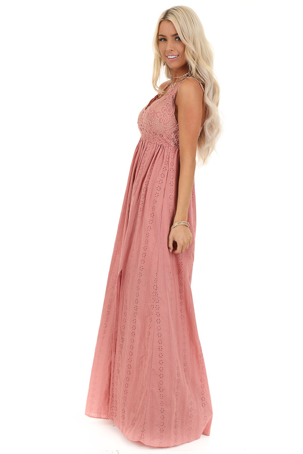 Dusty Pink Sleeveless Maxi Dress with Lace Bust side full body
