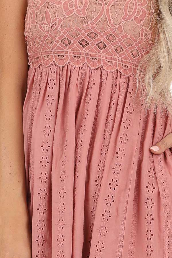 Dusty Pink Sleeveless Maxi Dress with Lace Bust detail