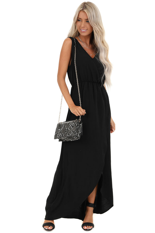 Jet Black Surplice V Neck Maxi Dress with Elastic Waistband front full body