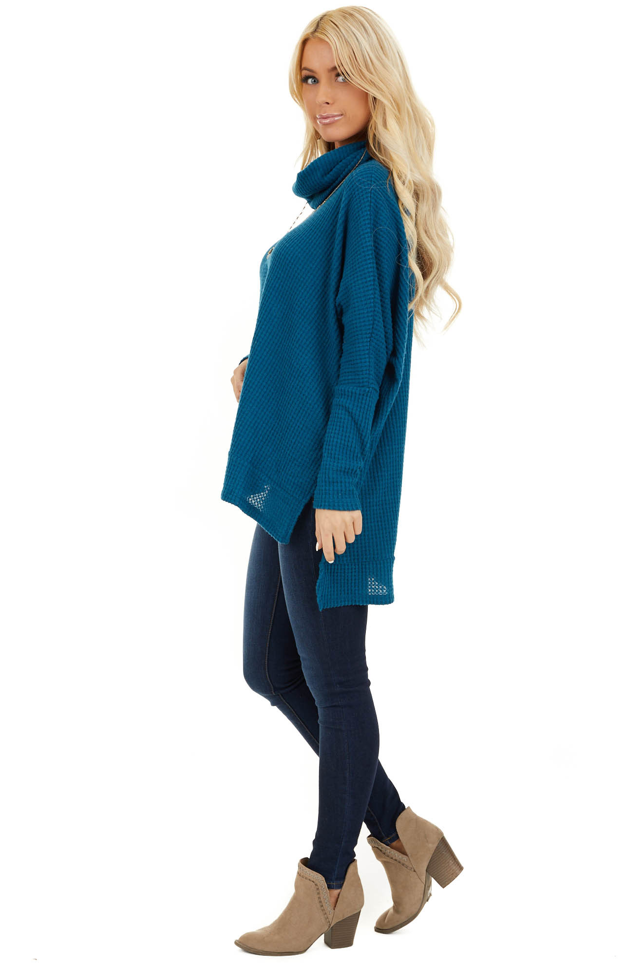 Dark Teal Waffle Knit Top with Cowl Neckline side full body