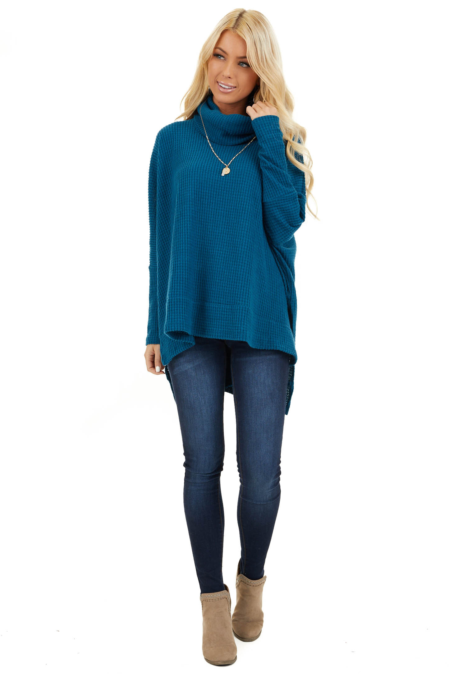 Dark Teal Waffle Knit Top with Cowl Neckline front full body