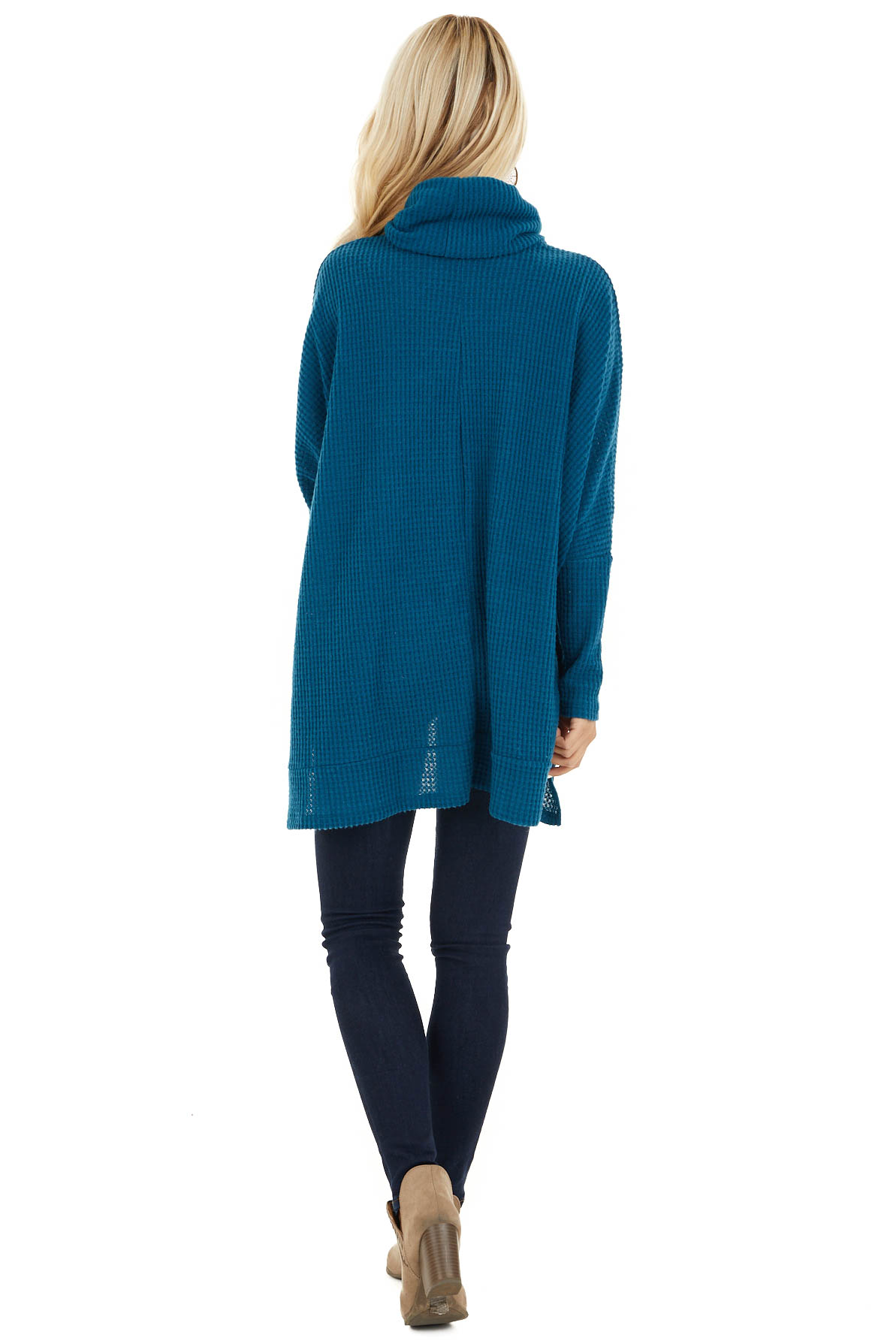 Dark Teal Waffle Knit Top with Cowl Neckline back full body
